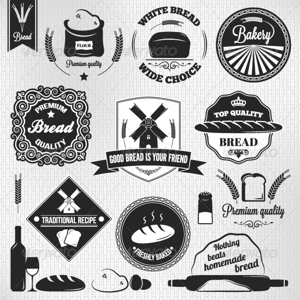 Bread Set of Vintage Labels - Food Objects