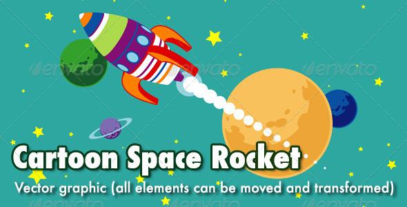Cartoon Space Rocket - Travel Conceptual