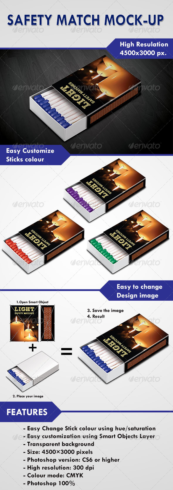 Safety Match Mock-Up - Product Mock-Ups Graphics