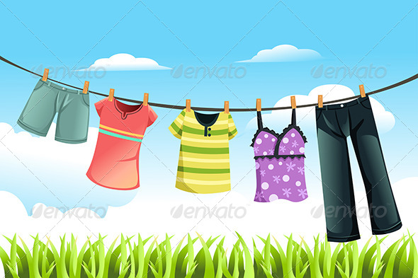 Drying Clothes - Objects Vectors
