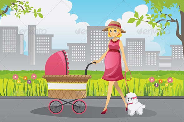 Pregnant Woman Walking - People Characters