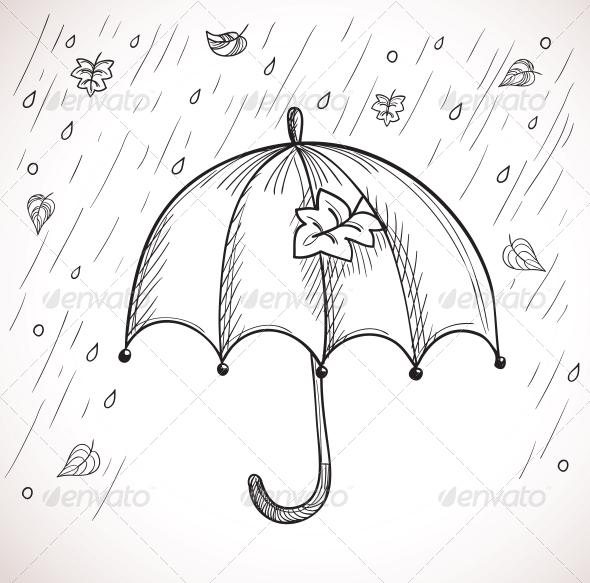 Sketch of an Umbrella in the Rain - Seasons Nature