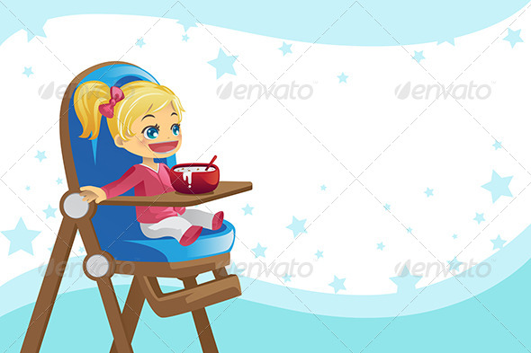 Child Eating in High Chair - People Characters