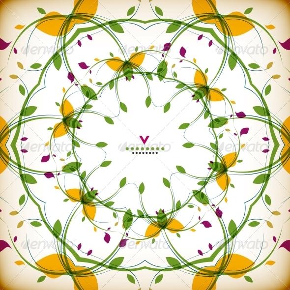 Vector Vintage Round Floral Autumn Card - Flowers & Plants Nature