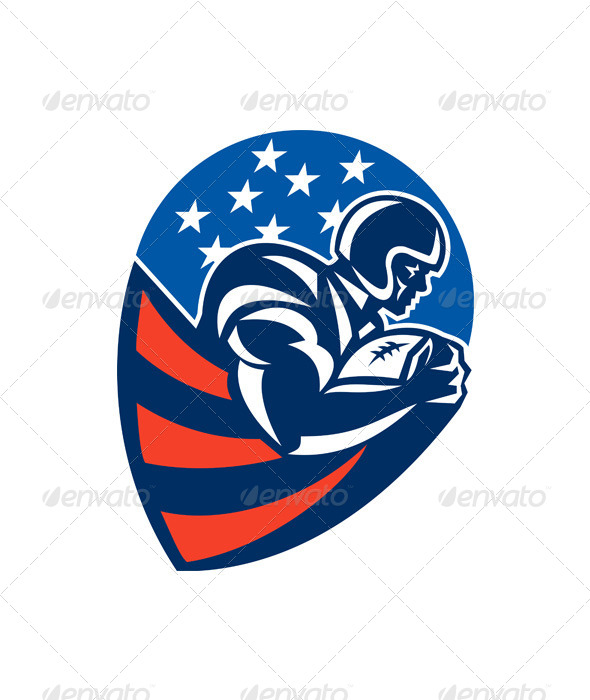 American Football Rushing Running Back - Sports/Activity Conceptual