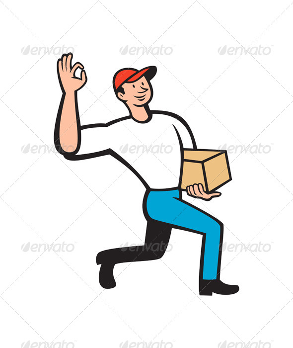 Delivery Worker Delivers Package Cartoon - People Characters