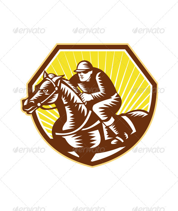 Thoroughbred Horse Racing Woodcut Retro - Sports/Activity Conceptual