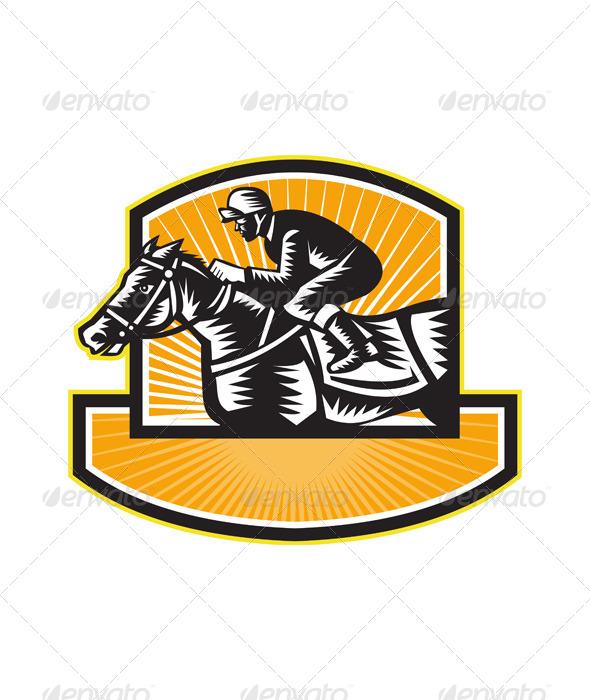 Horse Racing Side Woodcut Retro - Sports/Activity Conceptual