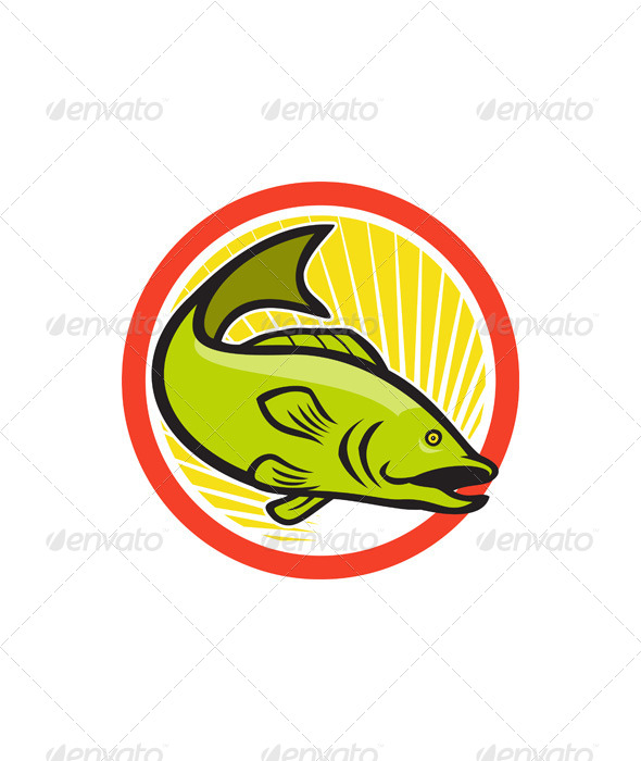 Largemouth Bass Jumping Cartoon Circle - Animals Characters