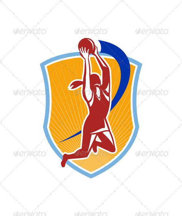 Netball Player Rebound Ball Retro - Sports/Activity Conceptual