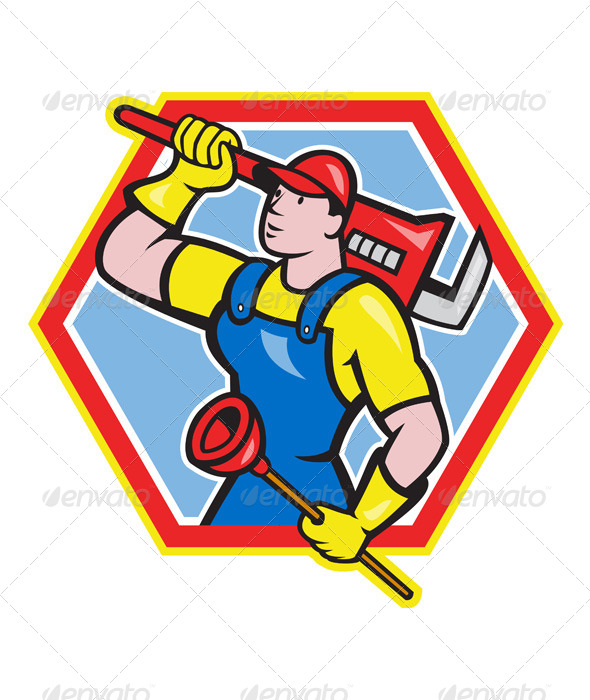 Plumber Holding Plunger Wrench Cartoon - People Characters
