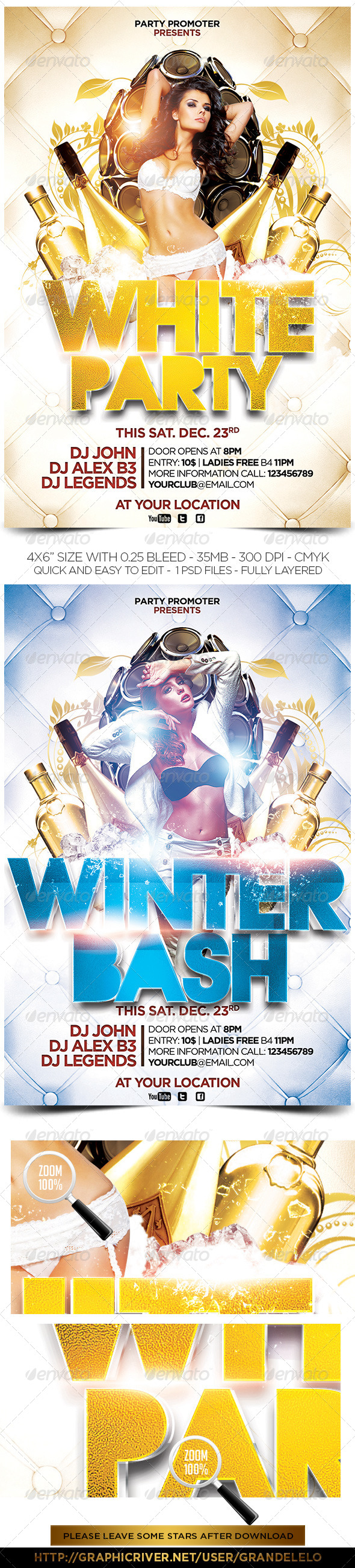 White and Winter Party Flyers - Clubs & Parties Events
