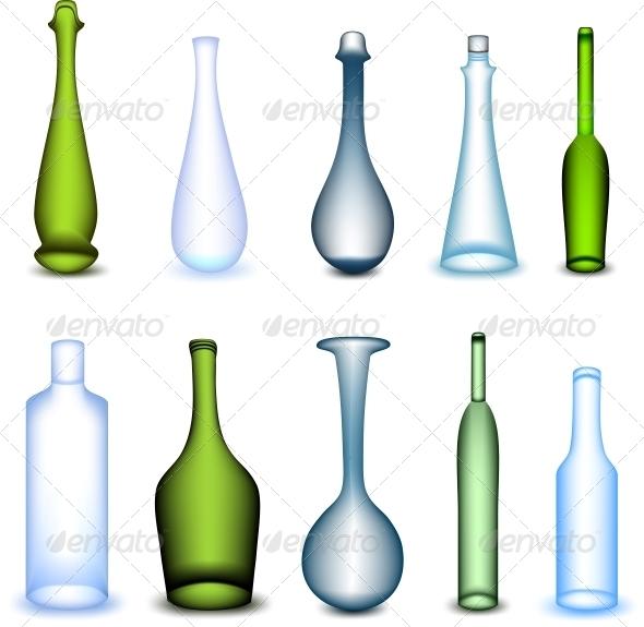 Colorful Bottles Set - Backgrounds Decorative