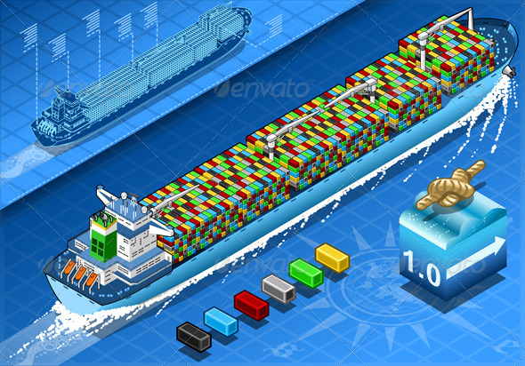 Isometric Cargo Ship with Containers in Navigation - Objects Vectors
