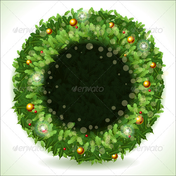 Wreath Christmas with Black Placeholder - Objects Vectors