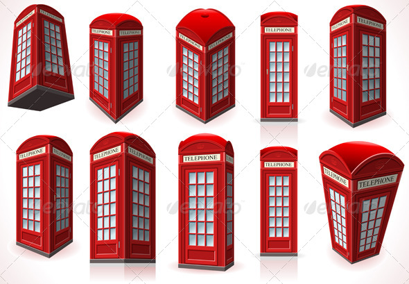 Set of English Red Telephone Cabins  - Objects Vectors