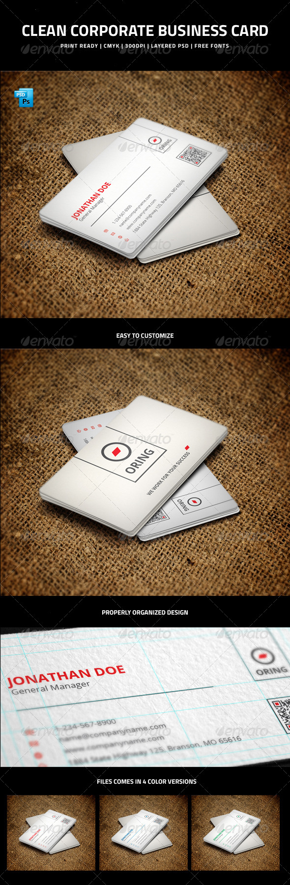 Clean Corporate Business Card with QR code - 5 - Corporate Business Cards