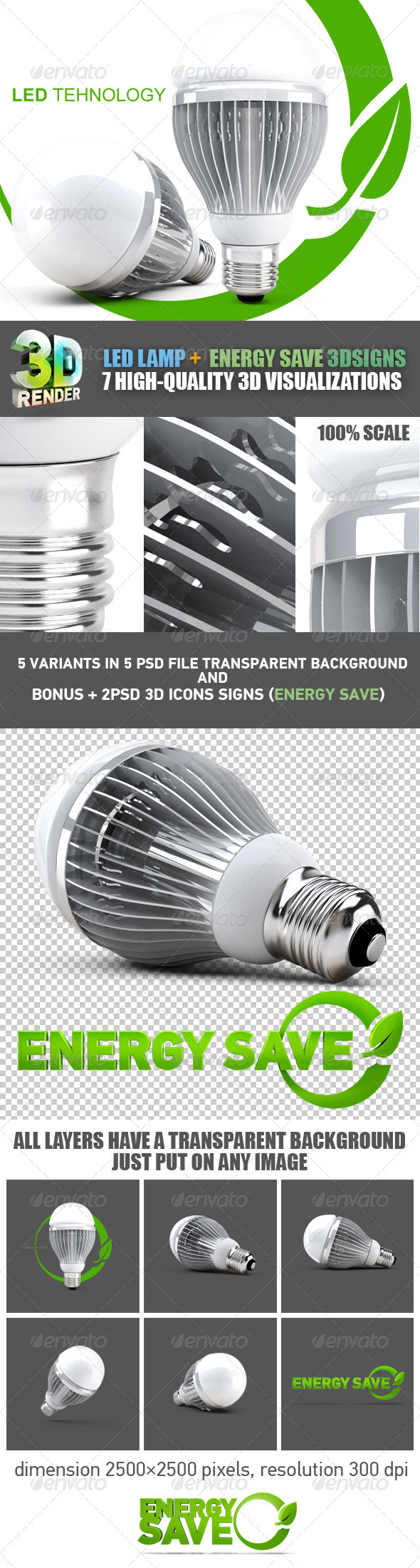 LED Lamp Energy Save Set - Technology 3D Renders