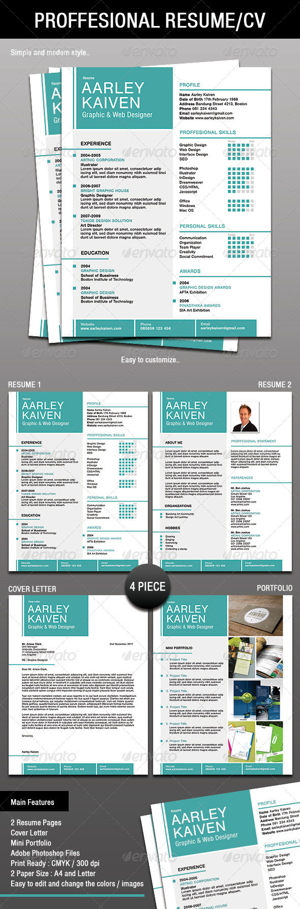 4 Piece Proffesional Resume / CV - Resumes Stationery