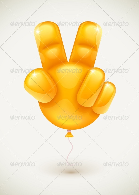 Balloon Hand Showing Victory Symbol - Miscellaneous Conceptual