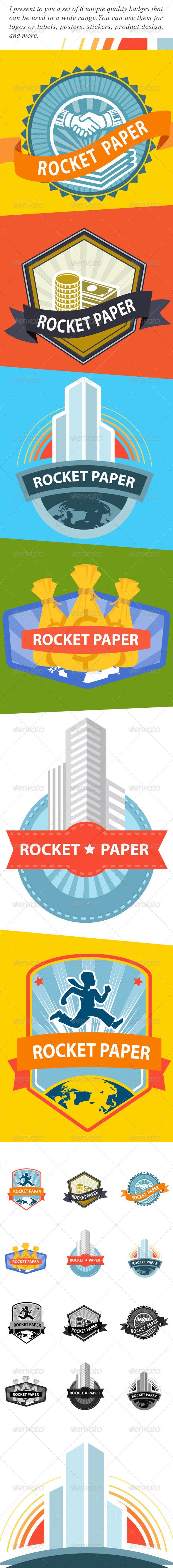 Web Elements & Badges for Rocket Paper - Badges & Stickers Web Elements