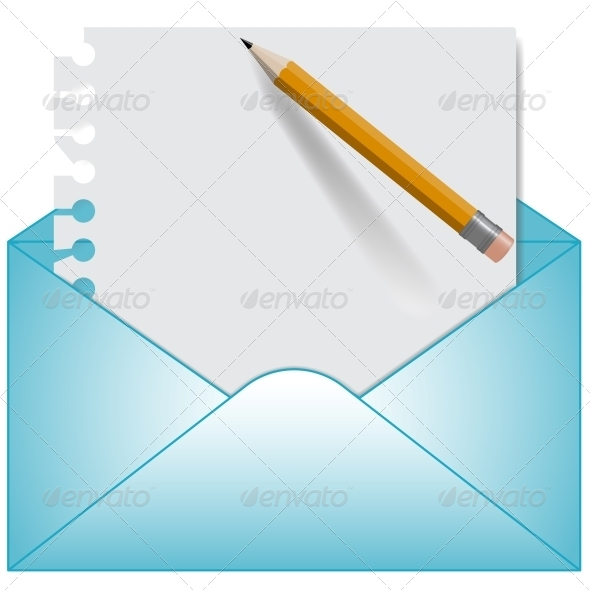 Letter and Open Envelope Vector - Web Technology