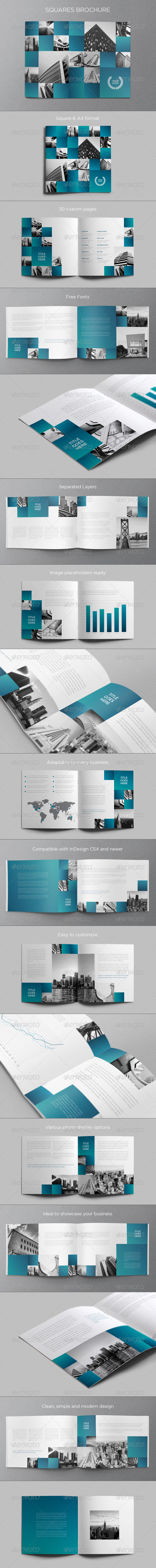 Architecture Squares Brochure - Brochures Print Templates