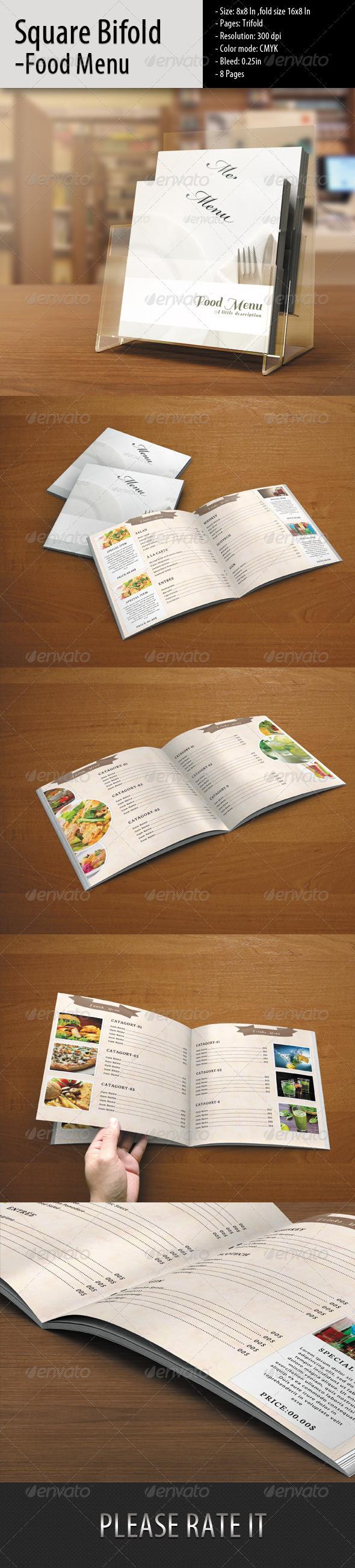 Square Bifold-Simple Food Menu - Food Menus Print Templates