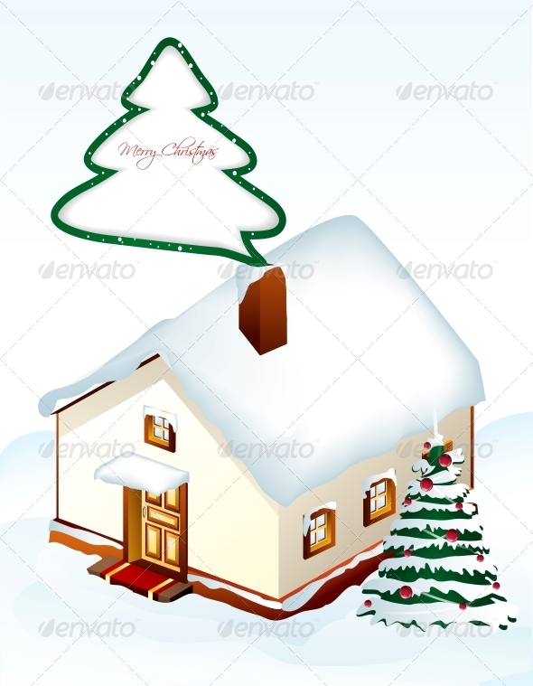 Gingerbread House with Tree Vector - Christmas Seasons/Holidays