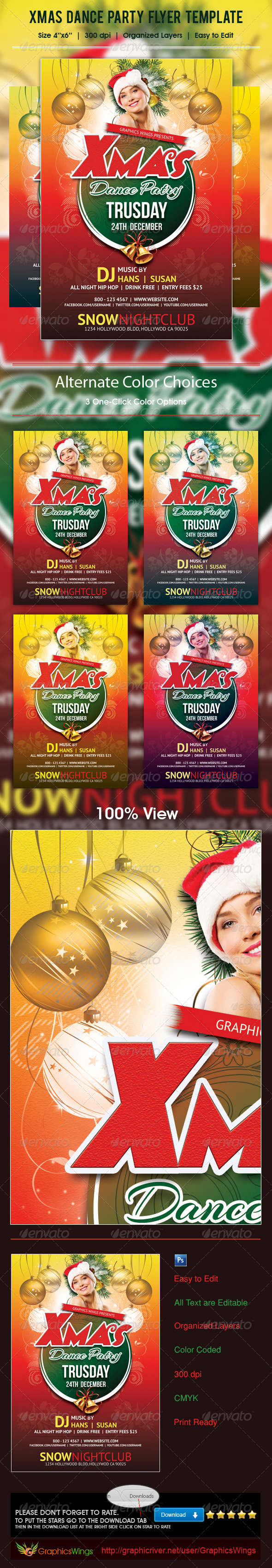 Xmas Dance Party Flyer Template - Clubs & Parties Events
