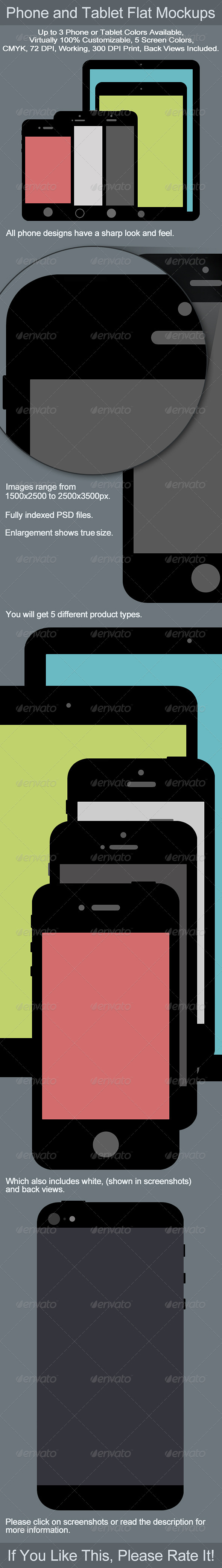 Phone and Tablet Flat Mockups - Mobile Displays