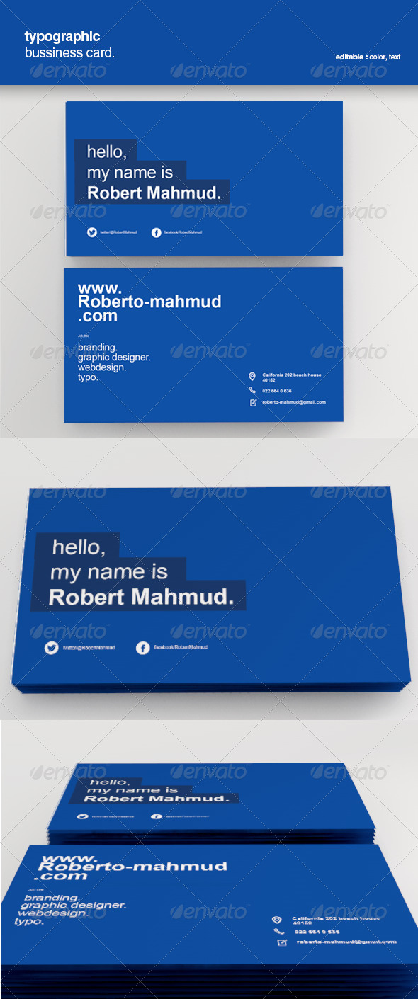 Simple Typographic Business Card - Corporate Business Cards