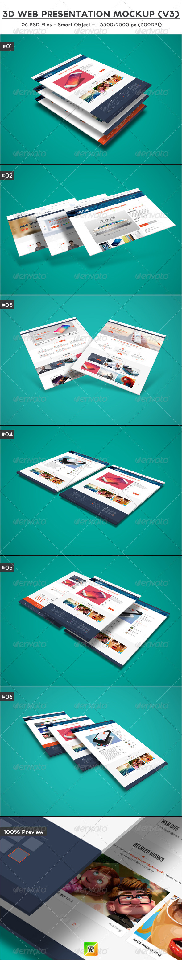 3D Web Presentation Mockup (V3) - Website Displays