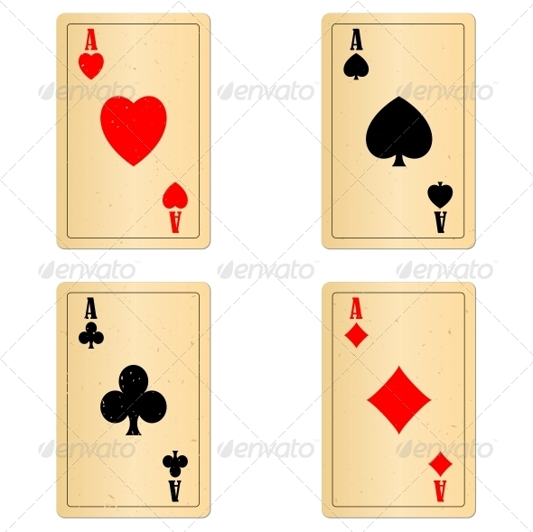 Blank Old Play Cards Four Aces - Miscellaneous Conceptual