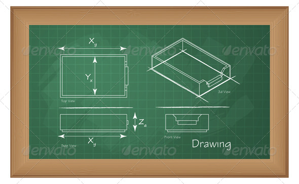 Technical Drawing on Green Board - Illustration - Industries Business