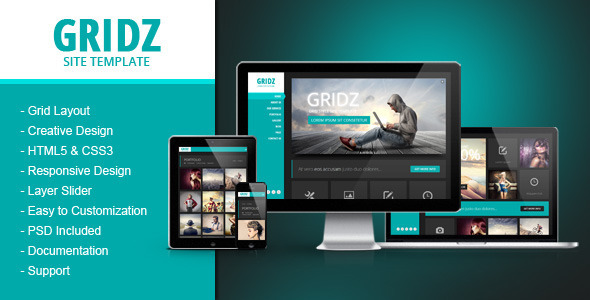Gridz - Responsive HTML5 Template - Creative Site Templates
