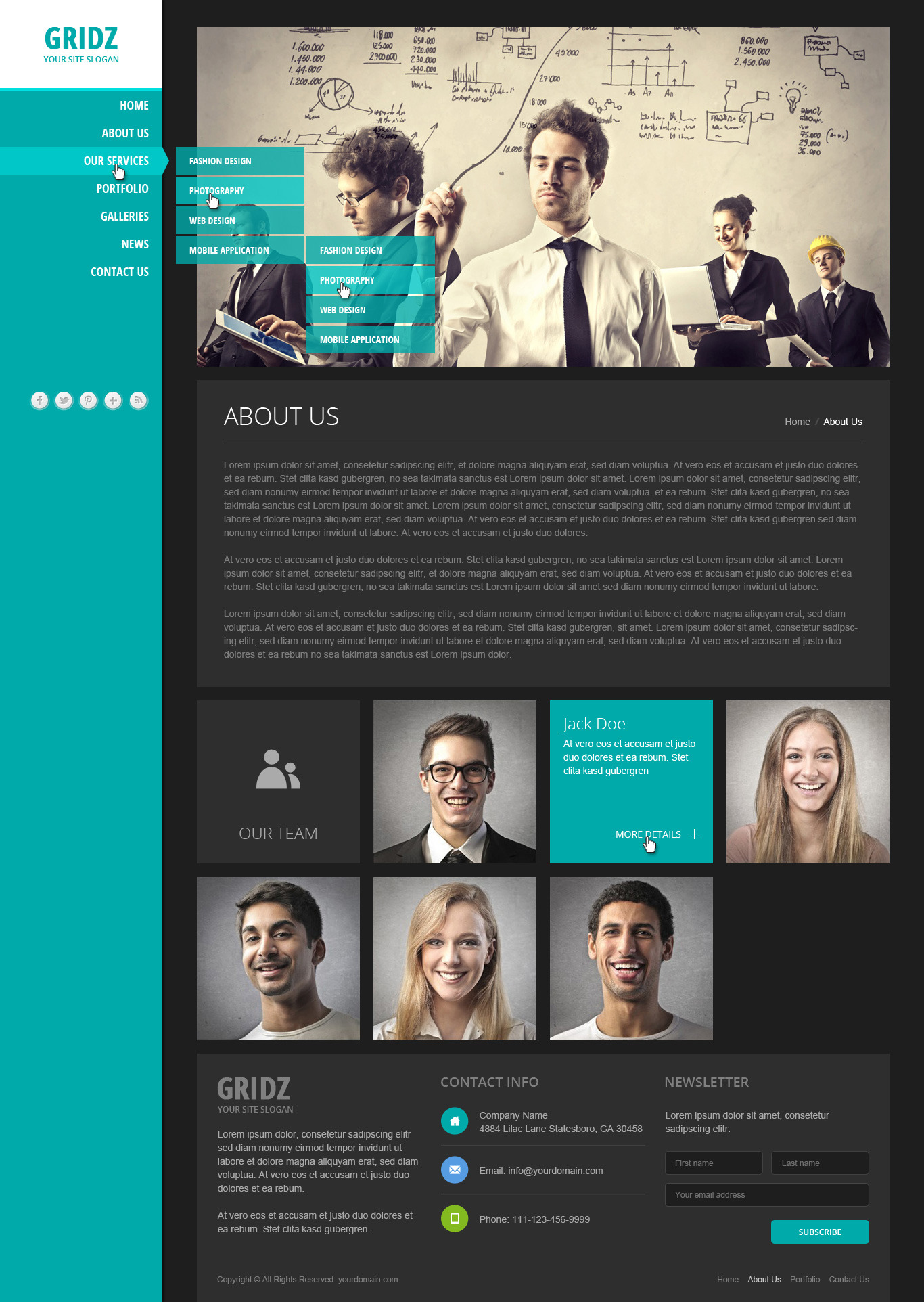 Gridz - Responsive HTML5 Template by pophonic   ThemeForest