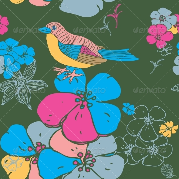 Bird Seamless Background - Flowers & Plants Nature