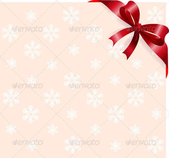 Red Ribbon on Snowflakes Background - Christmas Seasons/Holidays