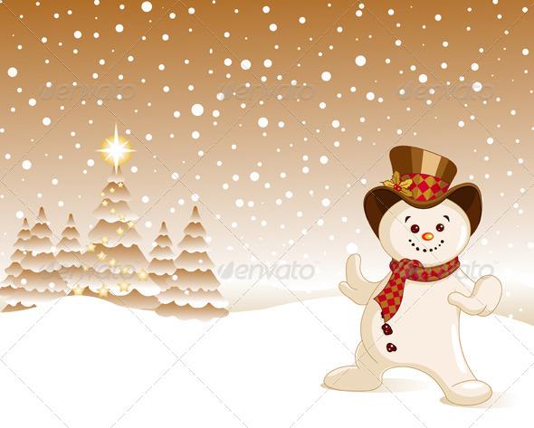 Snowman Christmas Background - Christmas Seasons/Holidays