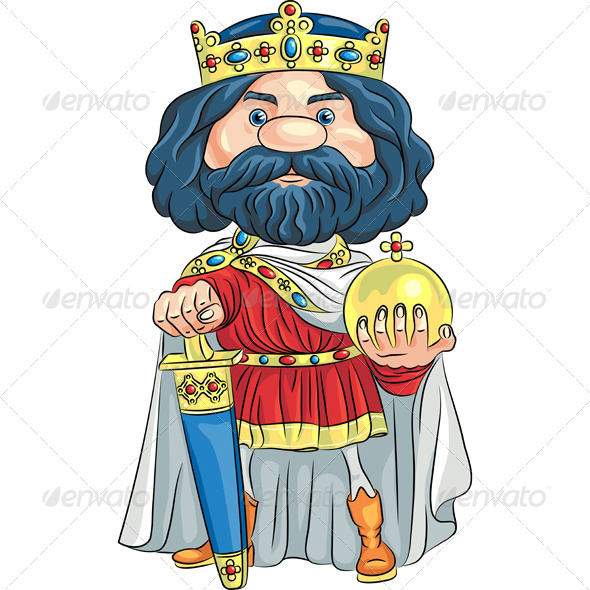 Vector Cartoon King with a Golden Crown - People Characters