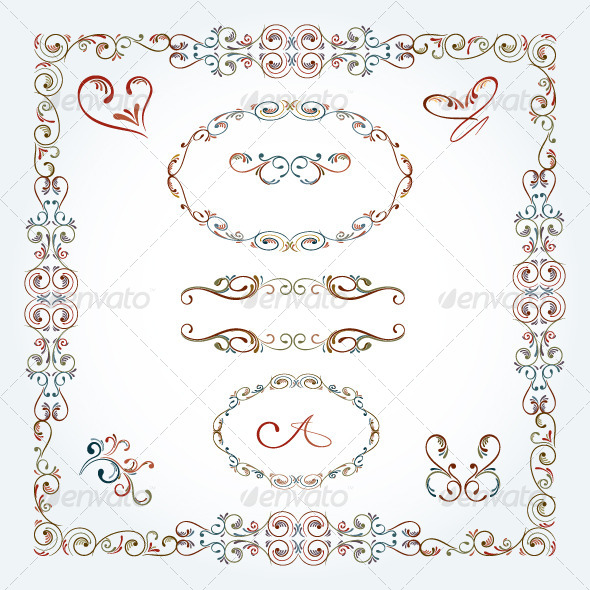 Arabesque Scroll Frames and Elements - Flourishes / Swirls Decorative