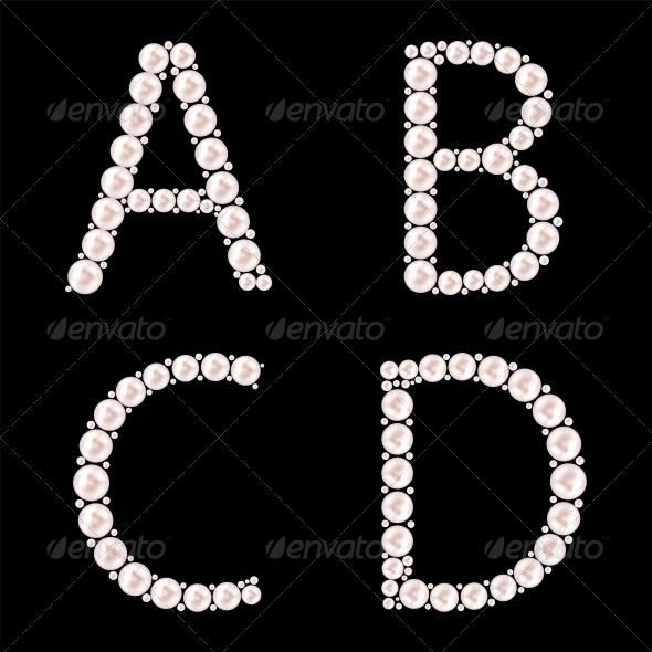 Pearl ABC Vector Illustration - Decorative Symbols Decorative