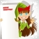 Girl Christmas Elf with a Banner - GraphicRiver Item for Sale