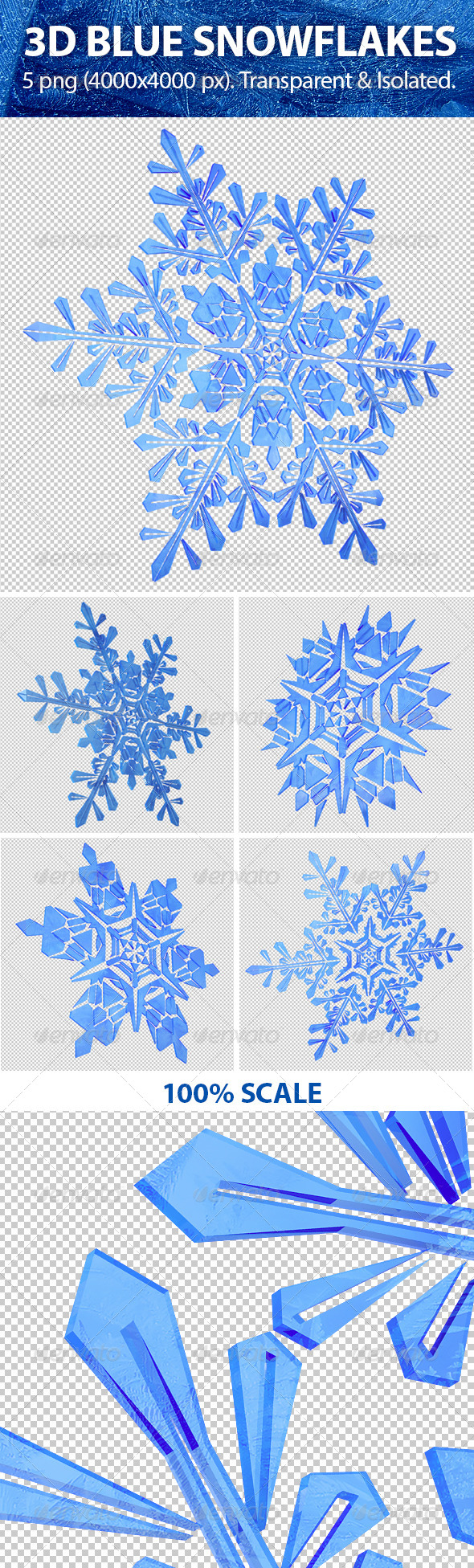 3D Blue Snowflakes - Miscellaneous 3D Renders