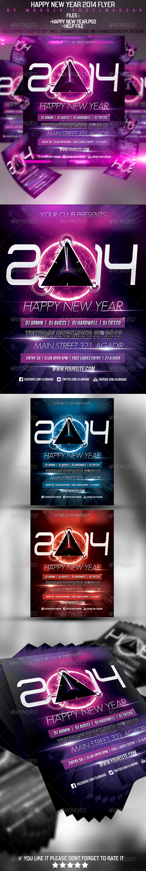 Happy New Year 2014 Flyer - Events Flyers