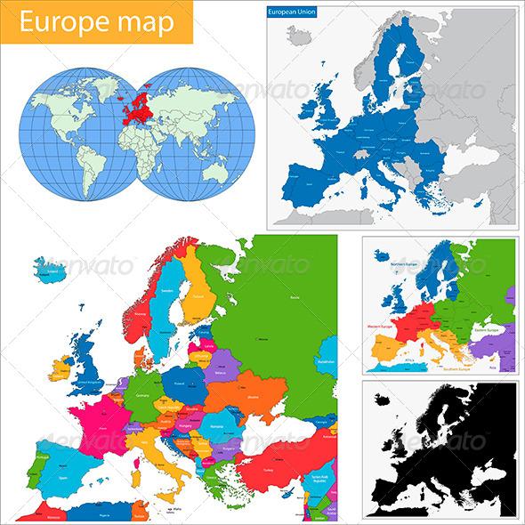 Europe Map - Travel Conceptual