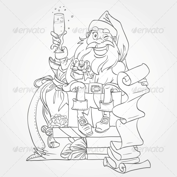 Santa Claus Outline for Coloring - New Year Seasons/Holidays