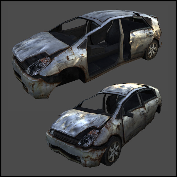 Wrecked Compact Car - 3DOcean Item for Sale