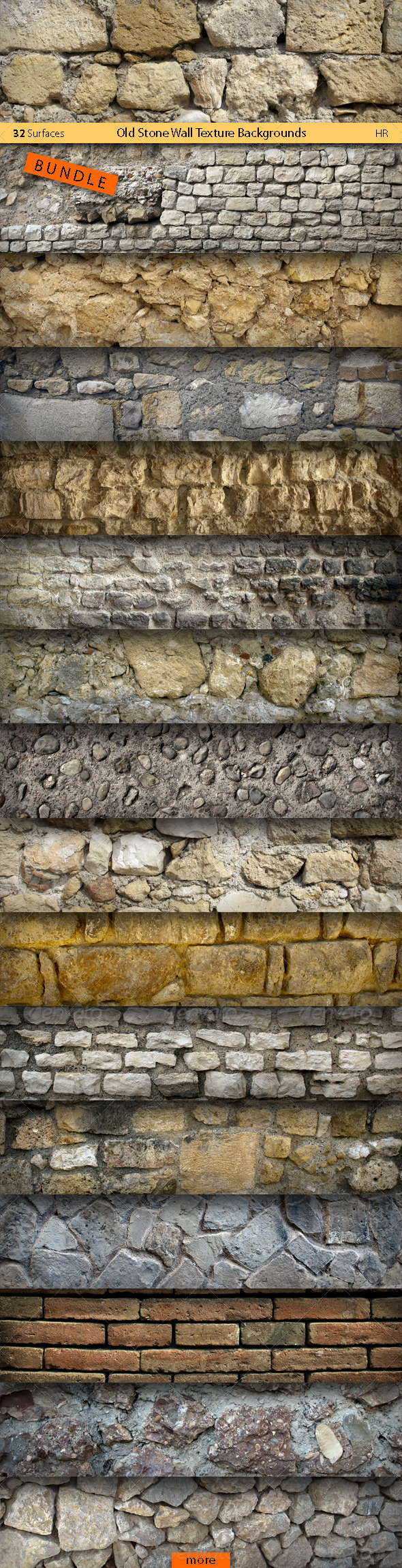 Old Stone Wall Texture Backgrounds Bundle - Stone Textures